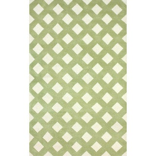 nuLOOM Hand-tufted Trellis Green Wool Rug (8'6 x 11'6)