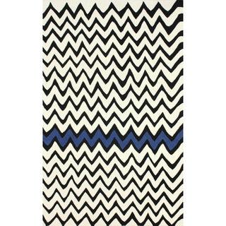 nuLOOM Hand-tufted Modern Chevron Black Rug (8'6 x 11'6)