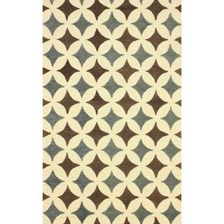 nuLOOM Handmade Star Trellis Blue Wool Rug (8'6 x 11'6)