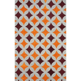 nuLOOM Handmade Star Trellis Orange Wool Rug (8'6 x 11'6)
