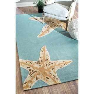 nuLOOM Hand-hooked Indoor/ Outdoor Starfish Novelty Blue Rug (5' x 8')