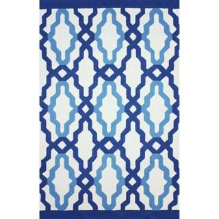 nuLOOM Hand-hooked Indoor/ Outdoor Trellis Blue Rug (7'6 x 9'6)