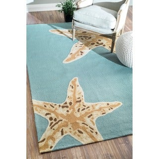 nuLOOM Hand-hooked Indoor/ Outdoor Starfish Novelty Blue Rug (7'6 x 9'6)