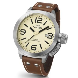 TW Steel Men's 'Canteen' Stainless Steel Cream Dial Watch