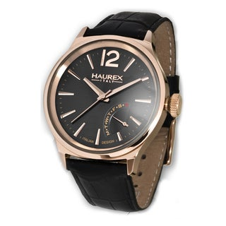 Haurex Italy Men's Grand Class Black Leather Day Retrograde Watch