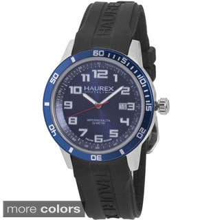 Haurex Italy Men's Premiere Black Rubber Date Watch