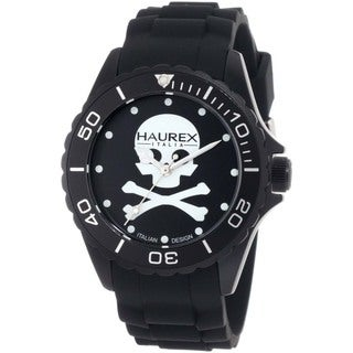Haurex Italy Men's Ink Skull Black Aluminum Watch