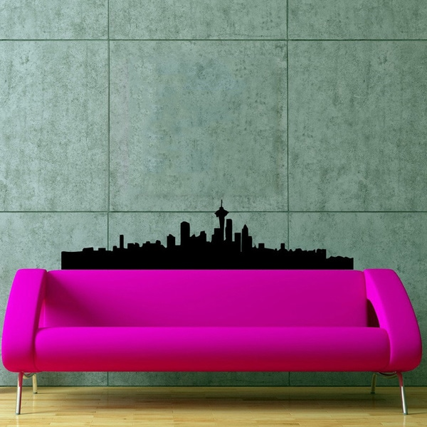 Seattle Skyline Panorama Cities of the World Vinyl Wall Decal