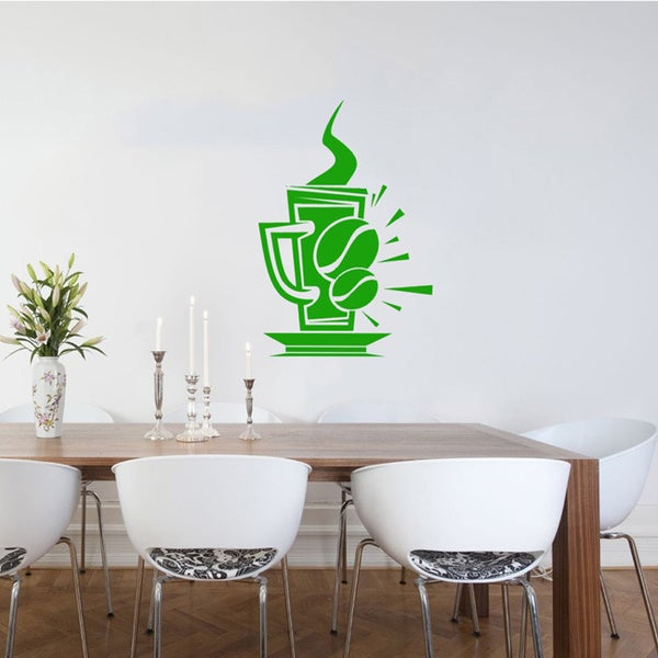 Cup of Coffee Bean Smoke Wall Vinyl Decal