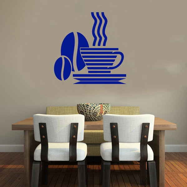 Cup of Coffee Blue Bean Smoke Wall Vinyl Decal