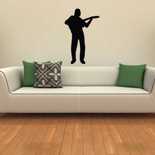 The Musician Plays the Guitar Black Vinyl Wall Decal