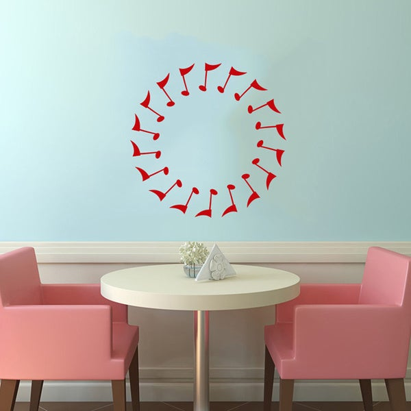 Musical Notes in a Circle Red Vinyl Wall Decal
