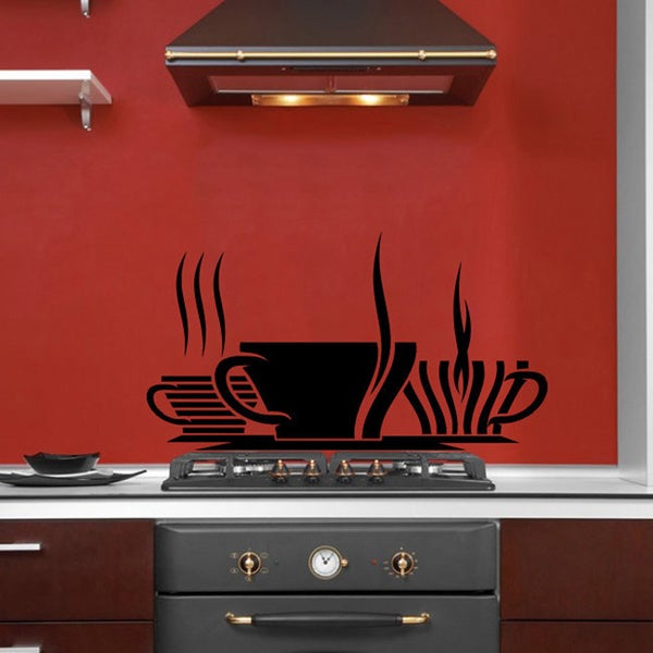 Cups of Coffee Smoke Wall Vinyl Decal
