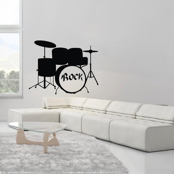 Rock Drums Musical Instrument Black Vinyl Wall Decal