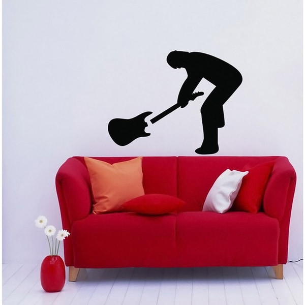 Musician Breaks Guitar Rock Music Black Vinyl Wall Decal