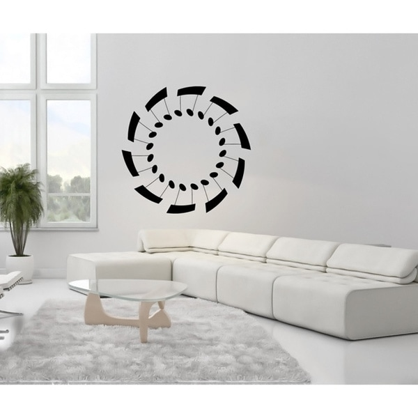 Musical Notes in a Circle Black Vinyl Wall Decal