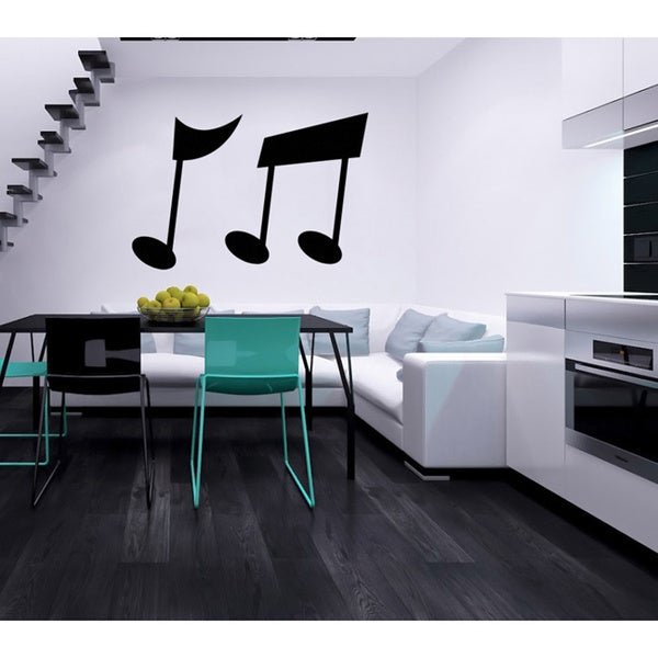 Two Musical Notes Black Vinyl Wall Decal