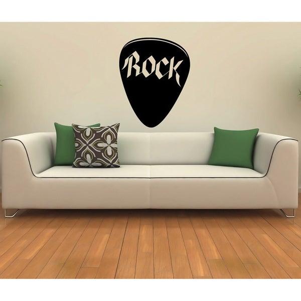 Rock Plectrum Music Word Black Vinyl Wall Decal