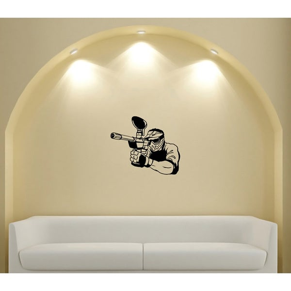 Paintball Player Take Aim Silhouette Sport Wall Vinyl Decal