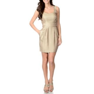 Tegan Women's Metallic Gold Sleeveless Cocktail Dress