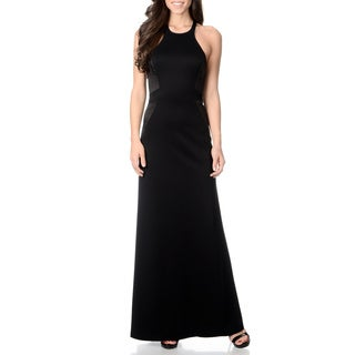 Halston Heritage Women's Black Halter Neck Evening Gown