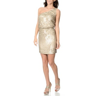 Halston Heritage Women's Gold Allover Sequined Evening Dress