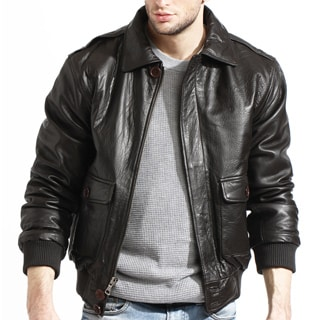 Tanners Avenue Men's Brown Lambskin Leather Bomber Jacket