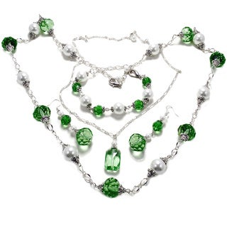 Peridot Green Crystal and White Glass Pearl 4-piece Jewelry Set