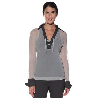 Anatomie Women's 'Cassandra' Grey Sheer Mesh Top