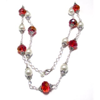 Light Siam Red Crystal and White Glass Pearl 4-piece Jewelry Set