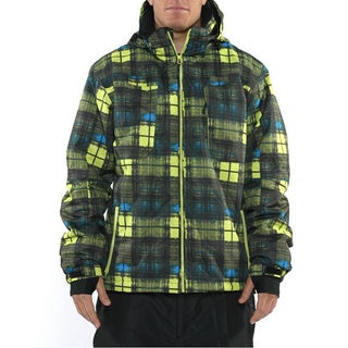 Pulse Men's 'Density' Neon Green/ Blue Plaid Snowboard Jacket