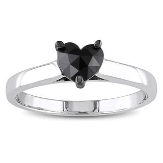 Miadora 10k White Gold 1/2ct TDW Black Diamond Heart Solitaire Ring