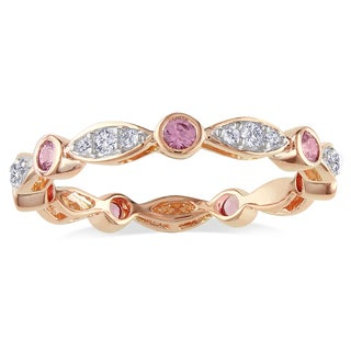 Miadora 10k Rose Gold Pink Sapphire and 1/4ct TDW Diamond Ring (H-I, I2-I3)