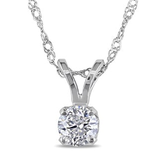 Miadora 14k White Gold 1/4ct TDW Diamond Solitaire Necklace (G-H, I1-I2)