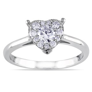 Miadora 14k White Gold 1/2ct TDW Diamond Heart Ring (G-H, I2-I3)