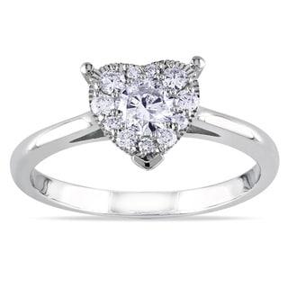 Miadora 14k White Gold 1/2ct TDW Diamond Heart Ring (G-H, I2-I3)