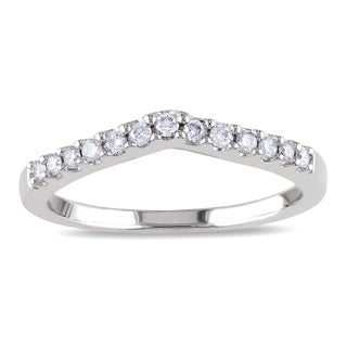 Miadora 14k White Gold 1/6ct TDW Diamond Wedding Band (G-H, I1-I2)
