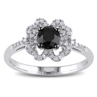 Miadora 10k White Gold 1ct TDW Black and White Diamond Flower Ring