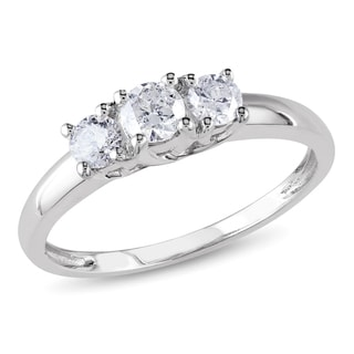 Miadora 10k White Gold 1/2ct TDW Diamond Three-Stone Ring (H-I, I2-I3)