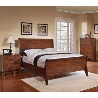 Sunny 3-piece Honey Oak Sleigh Bed Set