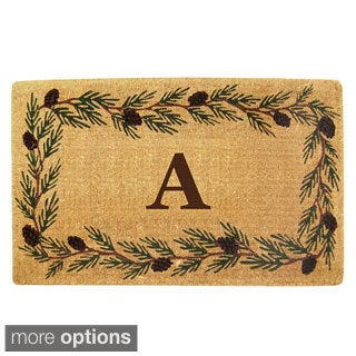 Handmade Monogrammed Evergreen Border Coir Door Mat (1'10 x 3')