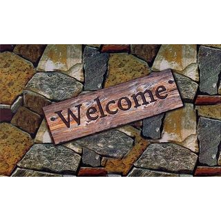 Achim Quarry Stones 'Welcome' Outdoor Rubber Entrance Mat (18x30-inch)