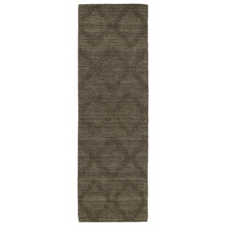 Trends Chocolate Brown Prints Wool Rug (2'6 x 8')