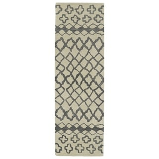 Hand-tufted Utopia Prints Grey Wool Rug (3' x 10')