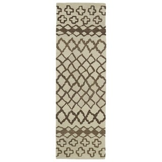 Hand-tufted Utopia Prints Brown Wool Rug (3' x 10')