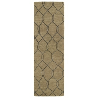Hand-tufted Utopia Tile Brown Wool Rug (3' x 10')