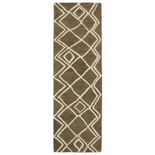 Hand-tufted Utopia Lucca Brown Wool Rug (3' x 10')