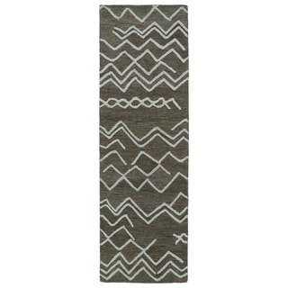 Hand-tufted Utopia Cascade Charcoal Wool Rug (3' x 10')