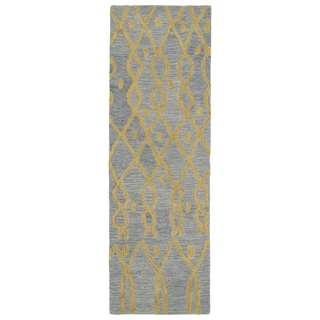 Hand-tufted Utopia Fringe Blue Wool Rug (3' x 10')