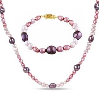 Miadora Goldplated Silver 2-pc Set of Purple and White Pearl Necklace and Bracelet